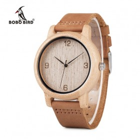 BOBO BIRD Jam Tangan Bambu Analog Unisex - L09 - Brown