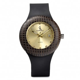 BOBO BIRD Jam Tangan Kayu Leather Strap - Q17 - Black