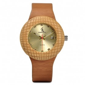 BOBO BIRD Jam Tangan Kayu Leather Strap - Q17 - Brown