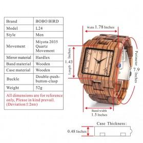 BOBO BIRD Jam Tangan Kayu Rectangle Analog Pria - L24 - Black - 9