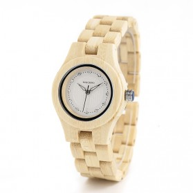 BOBO BIRD Bamboo Zebra Jam Tangan Bambu Analog Wanita - W-O29 / W-O10 - White