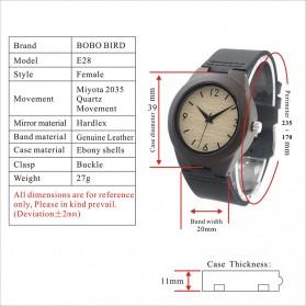 BOBO BIRD Jam Tangan Kayu Ebony Wanita Luxury Wooden Watch - E28 - Black - 8
