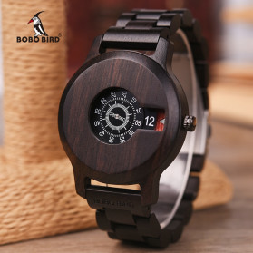 BOBO BIRD Jam Tangan Analog Pria Bamboo Watch - R26 - Black