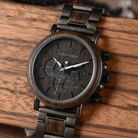 BOBO BIRD Jam Tangan Analog Pria Bamboo Watch - Q26-1 - Black - 5