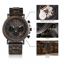 BOBO BIRD Jam Tangan Analog Pria Bamboo Watch - Q26-1 - Black - 7