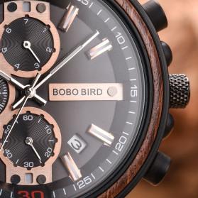 BOBO BIRD Jam Tangan Analog Pria Bamboo Watch - S18 - Black - 6