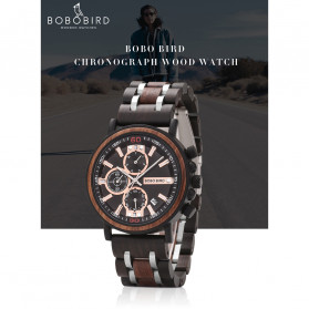 BOBO BIRD Jam Tangan Analog Pria Bamboo Watch - S18 - Black - 7