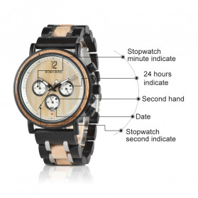 BOBO BIRD Jam Tangan Analog Pria Bamboo Watch - S18 - Black - 8