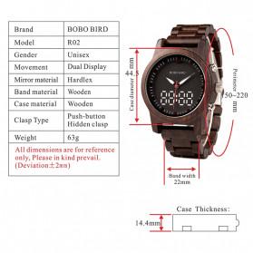 BOBO BIRD Jam Tangan Digital Analog Pria Bamboo Watch - R02 - Brown - 8