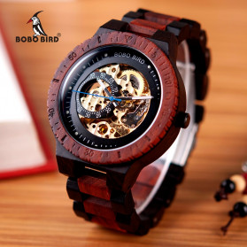 BOBO BIRD Jam Tangan Analog Pria Bamboo Mechanical Watch - R05 - Brown/Red