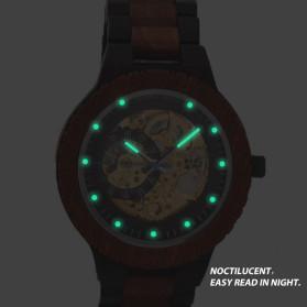 BOBO BIRD Jam Tangan Analog Pria Bamboo Mechanical Watch - R05 - Brown/Red - 2