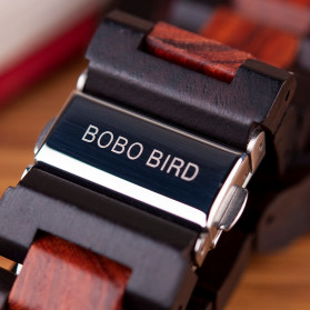 BOBO BIRD Jam Tangan Analog Pria Bamboo Mechanical Watch - R05 - Brown/Red - 3