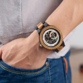 BOBO BIRD Jam Tangan Analog Pria Bamboo Mechanical Watch - R05 - Brown/Red - 4