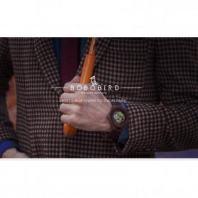 BOBO BIRD Jam Tangan Analog Pria Bamboo Mechanical Watch - R05 - Brown/Red - 6