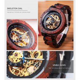 BOBO BIRD Jam Tangan Analog Pria Bamboo Mechanical Watch - R05 - Brown/Red - 7