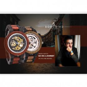 BOBO BIRD Jam Tangan Analog Pria Bamboo Mechanical Watch - R05 - Brown/Red - 9