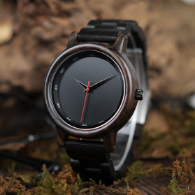 BOBO BIRD Jam Tangan Analog Pria Bamboo Watch - P10 - Black