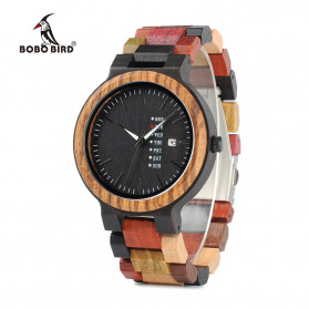 BOBO BIRD Jam Tangan Kayu Analog Pria - P141-1 - Multi-Color