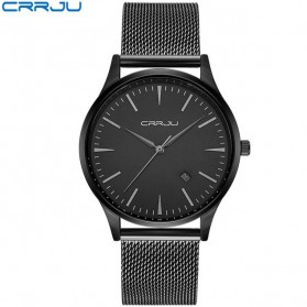 CRRJU Jam Tangan Analog Pria Stainless Steel - CJ-2135 - Black/Black