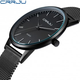 CRRJU Jam Tangan Analog Pria Stainless Steel - CJ-2135 - Black/Black - 2