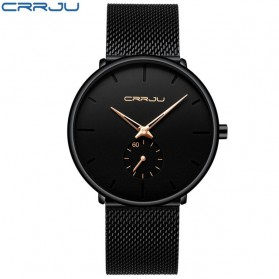 CRRJU Jam Tangan Analog Pria Stainless Steel - CJ-2150 - Black Gold