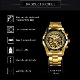 Forsining Jam Tangan Mechanical Luxury Pria - SLZ56 - Black Gold - 5