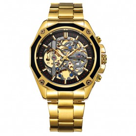 Forsining Jam Tangan Mechanical Luxury Pria - SLZe66 - Black Gold