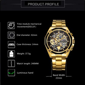 Forsining Jam Tangan Mechanical Luxury Pria - SLZe66 - Black Gold - 5