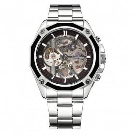Forsining Jam Tangan Mechanical Luxury Pria - SLZe66 - Silver Black