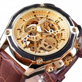 Forsining Jam Tangan Mechanical Luxury Pria - SLZe100 - Brown/Gold