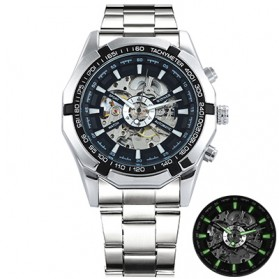 Forsining Jam Tangan Mechanical Luxury Pria - SLZe126 - Silver Black - 1