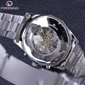 Forsining Jam Tangan Mechanical Luxury Pria - SLZe126 - Silver Black - 5