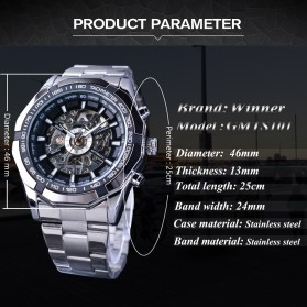 Forsining Jam Tangan Mechanical Luxury Pria - SLZe126 - Silver Black - 7