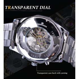 Forsining Jam Tangan Mechanical Luxury Pria - SLZe126 - Silver Black - 10