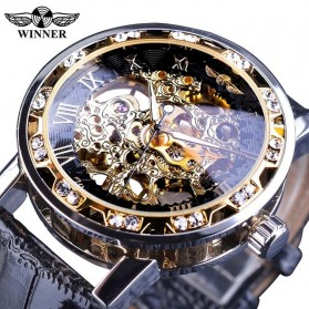 Winner Jam Tangan Mechanical Luxury Pria - GMT1089-1 - Black Gold
