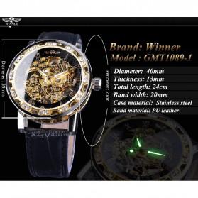 Winner Jam Tangan Mechanical Luxury Pria - GMT1089-1 - Black Gold - 7