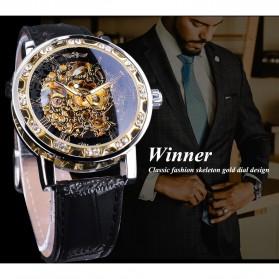 Winner Jam Tangan Mechanical Luxury Pria - GMT1089-1 - Black Gold - 8