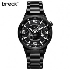 BREAK Jam Tangan Analog Luminous Stainless Steel Pria - 5109 - Black