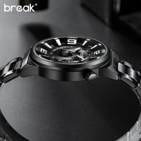 BREAK Jam Tangan Analog Luminous Stainless Steel Pria - 5109 - Black - 4