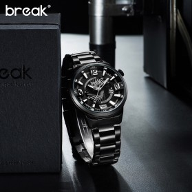 BREAK Jam Tangan Analog Luminous Stainless Steel Pria - 5109 - Black - 5