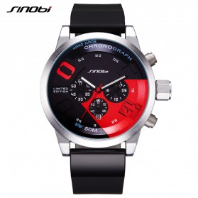 SINOBI Jam Tangan Analog Pria - 9680 - Black/Red - 1