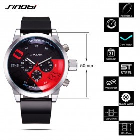 SINOBI Jam Tangan Analog Pria - 9680 - Black/Red - 6