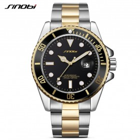 SINOBI Jam Tangan Diver Submariner Pria - 9721 - Black Gold