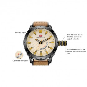 MINI FOCUS Jam Tangan Analog Pria - MF0150G - Brown/Black - 8