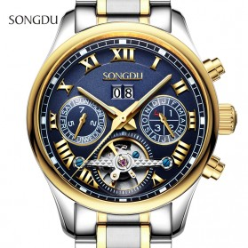 SONGDU Jam Tangan Mechanical Pria Automatic Movement - 7002M - Silver Blue - 2
