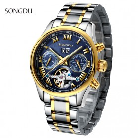 SONGDU Jam Tangan Mechanical Pria Automatic Movement - 7002M - Silver Blue - 3
