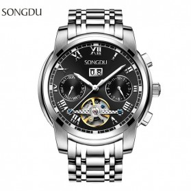 SONGDU Jam Tangan Mechanical Pria Automatic Movement - 7001M - Black
