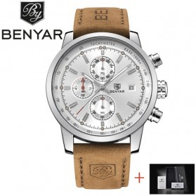BENYAR Bergani Jam Tangan Analog - BY-5102M - Brown/White