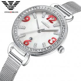NIBOSI Jam Tangan Luxury Wanita - 2317-3 - White/Silver