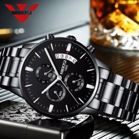 NIBOSI Jam Tangan Kasual Pria - 2309-2 - Black/Silver - 2